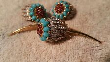 Vintage Signed JOMAZ Turquoise Rhinestone goldtone Floral Brooch and earrings.