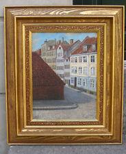 Antique salon oil. Cobbled streets of Copenhagen, Denmark. Signed. 1890.