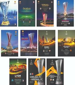 EUROPA LEAGUE CUP FINALS PROGRAMME COVERS FRIDGE MAGNETS 2010 - 2020