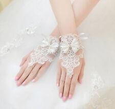 3g Short Ivory Lace Sequin Bow Fingerless Bridal Wedding Prom Gloves