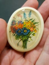 Vintage Molded Plastic Brooch, Flower Print Under Clear Dome, Made in Italy