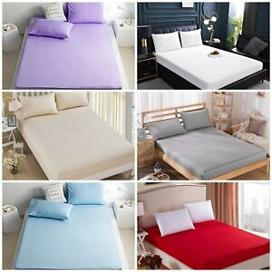 100% Brushed Cotton Flannelette Fitted Sheet 30cm In  All Sizes and Colours