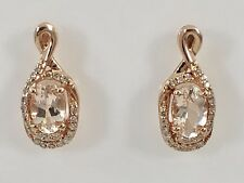 Genuine Morganite & Diamond Halo Solid 10K Rose Gold Stud Earrings,New