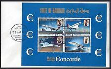 BAHRAIN 1976 CONCORDE SOUVENIR SHEET W/FIRST DAY OF ISSUE CANCEL INAUGURAL FLIGH