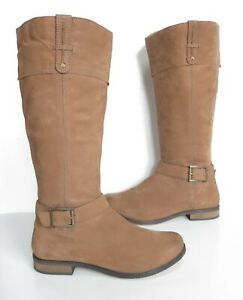 Ladies NEXT Brown soft leather knee length low heel boots Size 6 Exc Cond