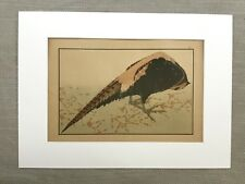 Antique japanese print Hokusai Pheasant BIRD Study Old Japan Art