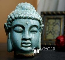 LARGE NEW GLAZED BLUE CERAMIC BUDDHA HEAD STATUE SCULPTURE STYLISH HOME DECOR