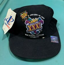 VINTAGE SUPER BOWL XXXI HAT & PIN- PATRIOTS / PACKERS w/ADJUSTABLE STRAP & TAGS