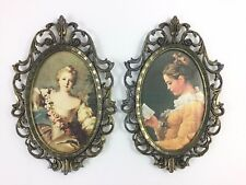 2 Vintage Metal Oval Picture Frames Made in Italy Flat Glass Floral Print