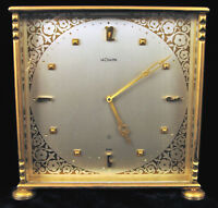 VINTAGE LECOULTRE CO 8 DAY SQUARE MANTLE DESK CLOCK YELLOW BRASS ART DECO STYLE