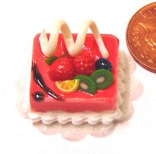 SCALA 1:12 torta alla fragola con frutta mista Casa delle Bambole Miniatura Accessorio HAA