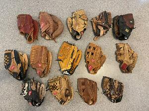 LOT OF 14 Gloves 11 RHT, 3 lHT BASEBALL SOFTBALL GLOVES  MIZUNO RAWLINGS, WILSON