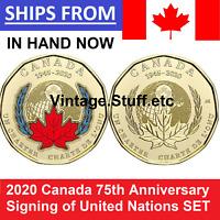 2020 $1 Canada Coin Color No Colored 75th ANNIVERSARY UNITED NATIONS UN SET UNC
