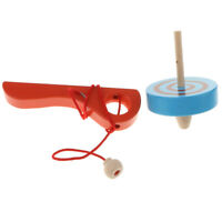 Wooden Peg-top Launcher Rope Set Spinning Gyro Peg-Top Educational Play Toys