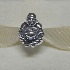 New Authentic Pandora Charm Budda Smiling Bead 790478 W Tag & Suede Pouch