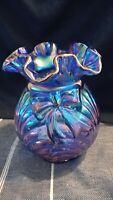 Fenton Art Glass Iridized Carnival Glass Cobalt Blue Bow & Drape Vase 1995