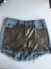 One Teaspoon Shorts Sequin Blue Denim Size 26