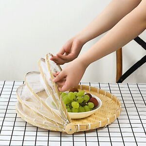 Net Cover Basket Simple Food Anti-mosquito Tent Bamboo Foldable Hand-Woven