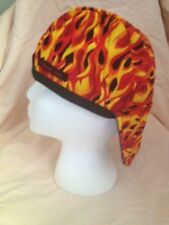 WELDING CAP,,, org-yell flames ,REVERSIBLE ALL COTTON