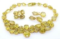 Heavy 18K gold 600.0CTW 27 X 16.6mm peridot formal necklace, ring & earring set