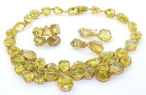 Heavy 18K gold 600.0CTW 27 X 16.6mm peridot formal necklace, ring & earring set