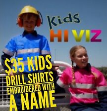 1x Kids Hi Vis Drill Shirt Embroidered With A Name