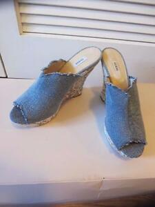 WOMENS GUESS DENIM OPEN TOE WEDGE SHOES SIZE 9.5