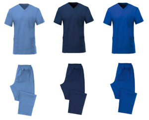 Medical Scrubs Top Trousers Set Uniform NHS Hospital GP Dentists. Navy Royal Sky