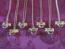 "Graduation School Color Birthstone GP Necklace W Mini Ring & Year Charm 18"""