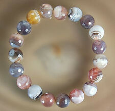 10mm Faceted Natural Persian Gulf Agate Bracelet