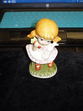 Homco Porcelain Figurine Girl with Rabbit & Carrots