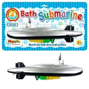 BATH SUBMARINE - 385-204 WATER WIND UP SCUBA BOAT SPLASH SHIP FUN 33CM SUB TOY