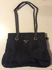PRADA Nylon & Leather Trim Chain Shoulder Bag Purse Pre owned