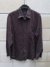 Chemise BURBERRY London marron chocolat col Tartan 6 manches longues