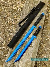 "2PC SET 26'' & 18"" Ninja Samurai Katana Swords Machete Full Tang Blade Blue"