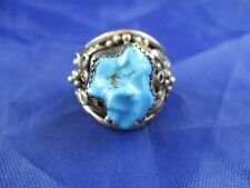VINTAGE STERLING SILVER MAN'S TURQUOISE RING    SIZE 13.25