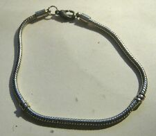 Bracelet slinky chain silver tone metal simple 8 ins long