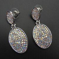AB Crystal Rhinestone Oval Dangle Stud Earrings