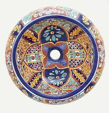 Mexican Talavera Round Vessel Sink Donut Ceramic Handpainted # 07
