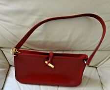Longchamp Red Leather Shoulder Bag Handbag w/Metal Toggle