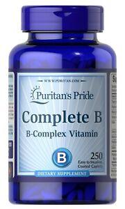 Puritan's Pride Complete B (Vitamin B Complex) 250 Easy To Swallow Caplets