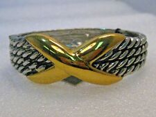 "Two-Tone Hinged Clamper Bracelet, 6.5"" Woven Design with X, New, Allure Tags"