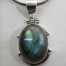 Pendentif Labradorite Argent 925 bleu vert chatoyant pour collier Indra