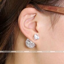 Pair Clear Celebrity Runway Double Sided Cubic Zirconia Crystal Ear Stud Earring
