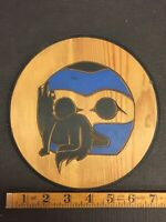 Northwest Coast First Nations native Carving Art Wolf In Moon Signed Piece