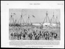 1895 antica stampa-Cina yingkou LIAO River Icebound spedizione navale (010)