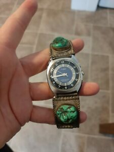MEN'S 1970s TIMEX AUTOMATIC WITH NAVAJO STERLING SILVER & TURQUOISE WATCHBAND