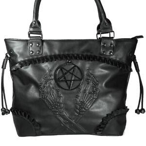 Banned Occult Pentagram Star Gothic Skeleton Bones Handbag Ladies Shoulder Bag