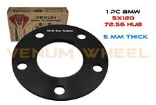 1 PC 5MM BMW REPLACEMENT BLACK WHEEL SPACER 5X120 BOLT PATTERN 72.56 HUB BORE