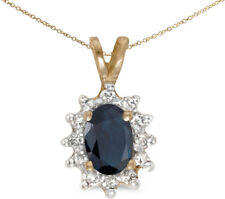 10k Yellow Gold Oval Sapphire And Diamond Pendant (Chain NOT included)